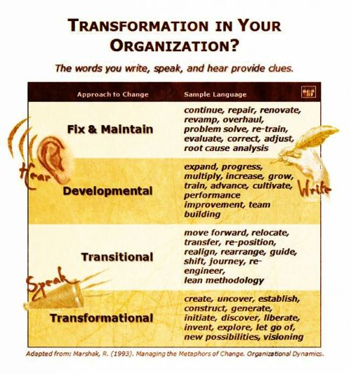 The language you use are clues to your change approach: fix & Maintain, Developmental, Transitional, or Transformational