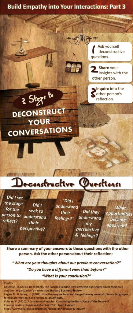 If you deconstruct your conversations, then you will deepen your relationships.